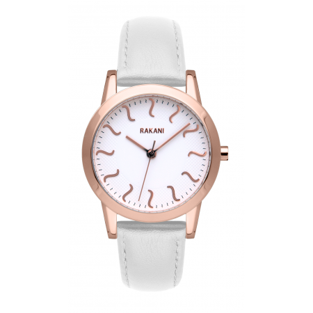 ISH - Rose Gold Watch w/ White Leather (32mm)