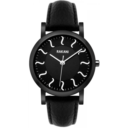 ISH - Black Watch w/ Black Steel Case and Leather Band (40mm)