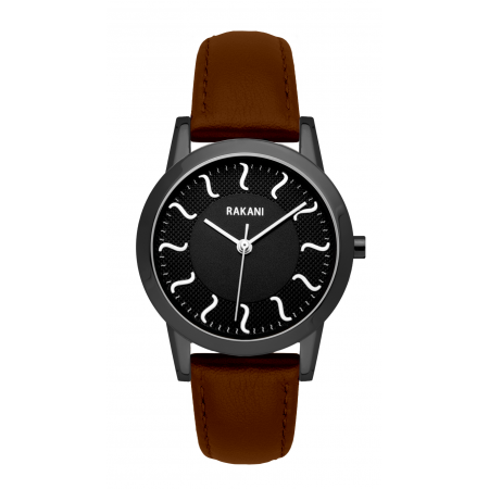 ISH - Black Watch w/ Black Steel Case and Dark Brown Leather (32mm)