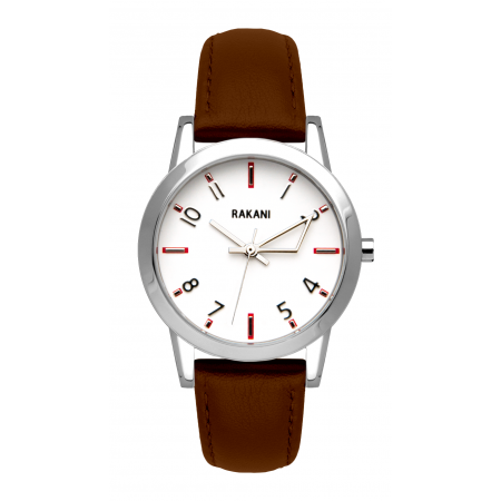 +5 - White Watch w/ Dark Brown Leather (32mm)
