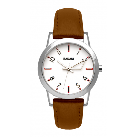 +5 - White Watch w/ Light Brown Leather (32mm)