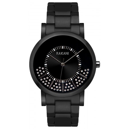 Stuck In Traffic - Swarovski Crystals Watch w/ Black Steel Case and Band (40mm)