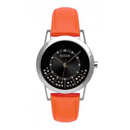 Stuck In Traffic - Swarovski Crystals Watch w/ Orange Leather (32mm)