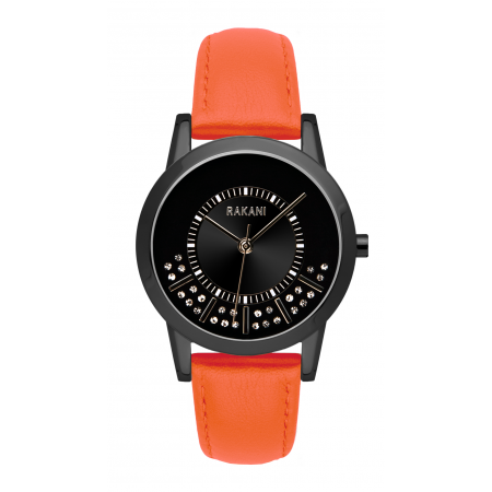 Stuck In Traffic - Swarovski Crystals Watch w/ Black Steel Case and Orange Leather (32mm)