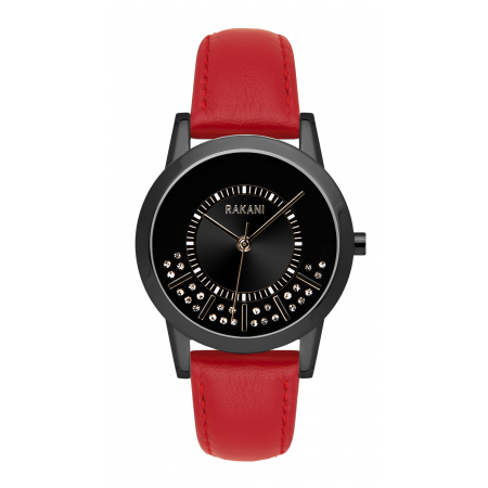 Stuck In Traffic - Swarovski Crystals Watch w/ Black Steel Case and Red Leather (32mm)