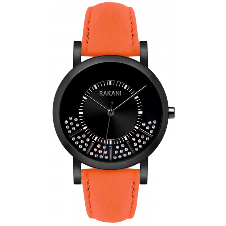 Stuck In Traffic - Swarovski Crystals Watch w/ Black Steel Case and Orange Leather (40mm)