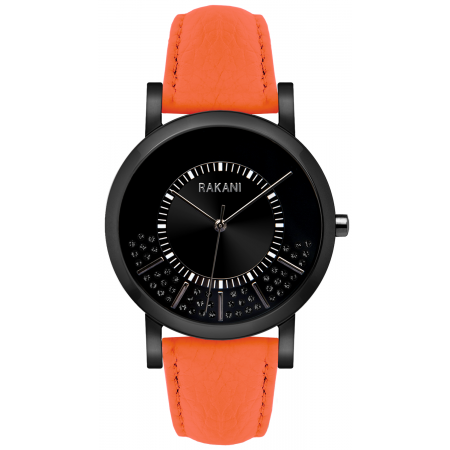 Stuck In Traffic - Black Swarovski Crystals Watch w/ Black Steel Case and Orange Leather (40mm)