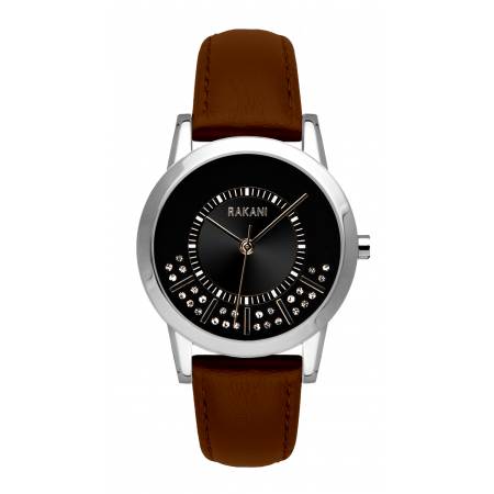 Stuck In Traffic - Swarovski Crystals Watch w/ Dark Brown Leather (32mm)