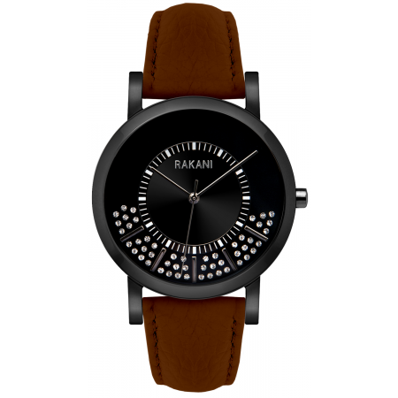 Stuck In Traffic - Swarovski Crystals Watch w/ Black Steel Case and Dark Brown Leather (40mm)