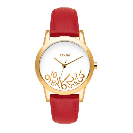 What Time? - Gold on White Watch w/ Red Leather (32mm)