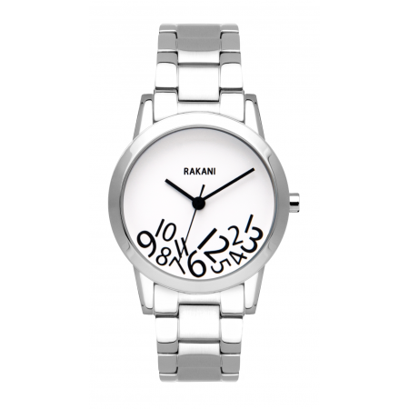 What Time? - Black on White Watch w/ Stainless Steel (32mm)