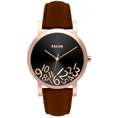 What Time? - Rose Gold on Black Watch w/ Dark Brown Leather (40mm)