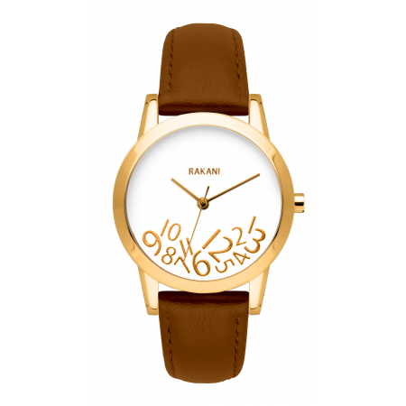 What Time? - Gold on White Watch w/ Light Brown Leather (32mm)