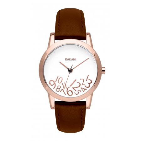 What Time? - Rose Gold on White Watch w/ Dark Brown Leather (32mm)