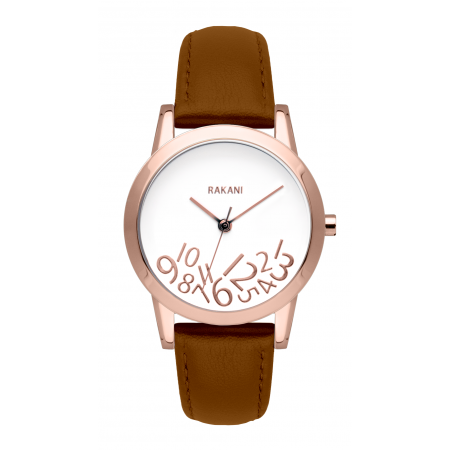 What Time? - Rose Gold on White Watch w/ Light Brown Leather (32mm)
