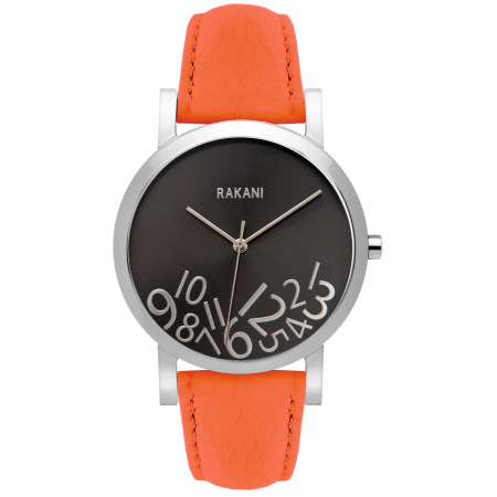 What Time? - Silver on Titanium Watch w/ Orange Leather (40mm)