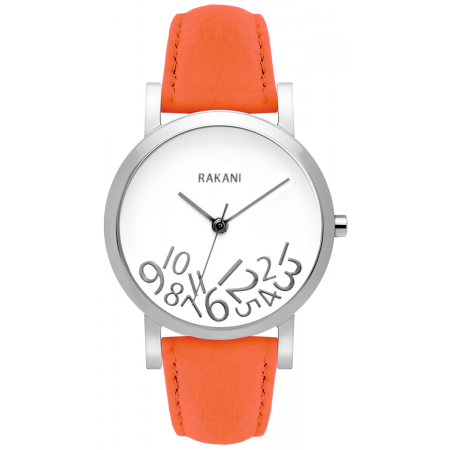 What Time? - Silver on White Watch w/ Orange Leather (40mm)