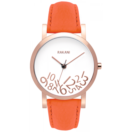 What Time? - Rose Gold on White Watch w/ Orange Leather (40mm)