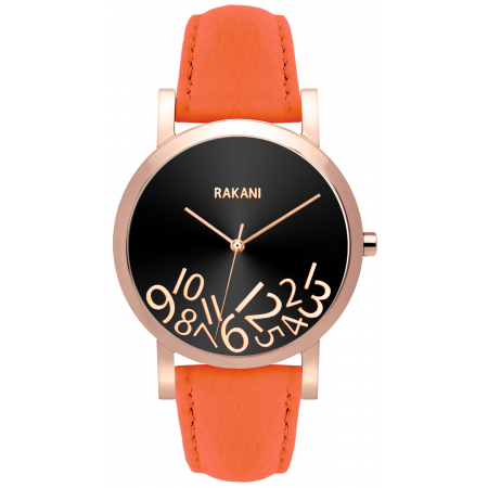 What Time? - Rose Gold on Black Watch w/ Orange Leather (40mm)