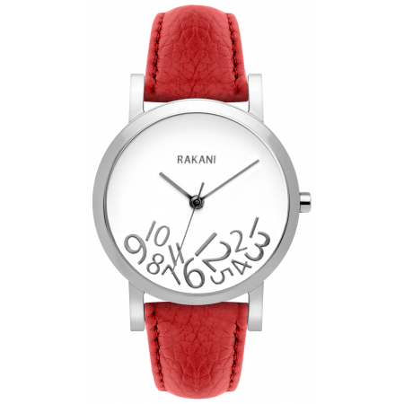 What Time? - Silver on White Watch w/ Red Leather (40mm)