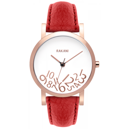 What Time? - Rose Gold on White Watch w/ Red Leather (40mm)