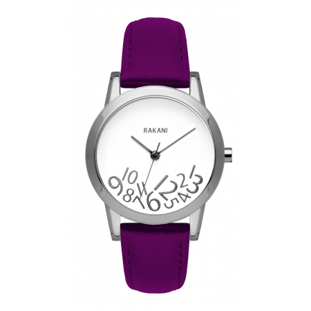What Time? - Silver on White Watch w/ Purple Leather (32mm)