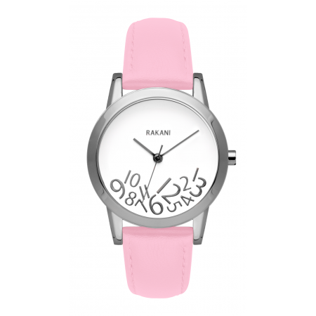 What Time? - Silver on White Watch w/ Pink Rose Leather (32mm)