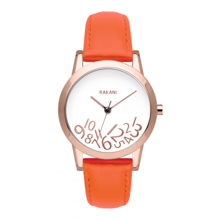 What Time? - Rose Gold on White Watch w/ Orange Leather (32mm)
