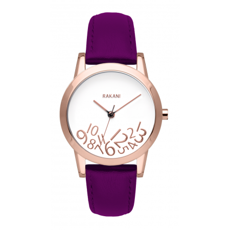 What Time? - Rose Gold on White Watch w/ Purple Leather (32mm)