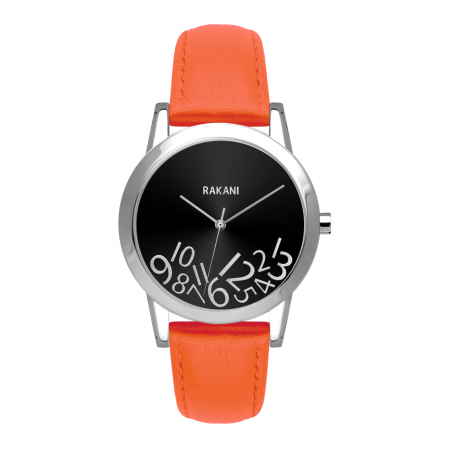 What Time? - Silver on Black Watch w/ Orange Leather (32mm)