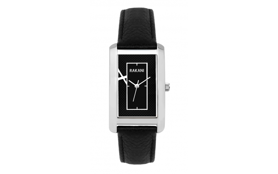 Right Around The Corner - Black Rectangle Watch w/ Black Leather (38mm)