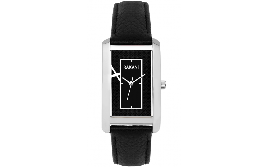 Right Around The Corner - Black Rectangle Watch w/ Black Leather (46mm)