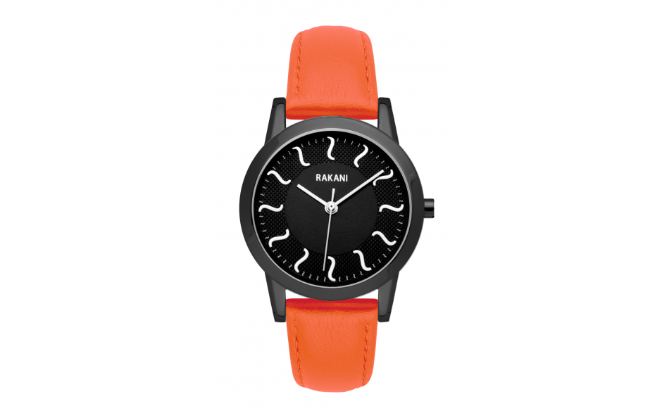 ISH - Black Watch w/ Black Steel Case and Orange Leather (32mm)