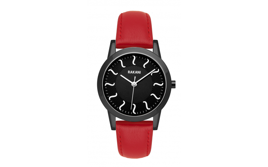 ISH - Black Watch w/ Black Steel Case and Red Leather (32mm)