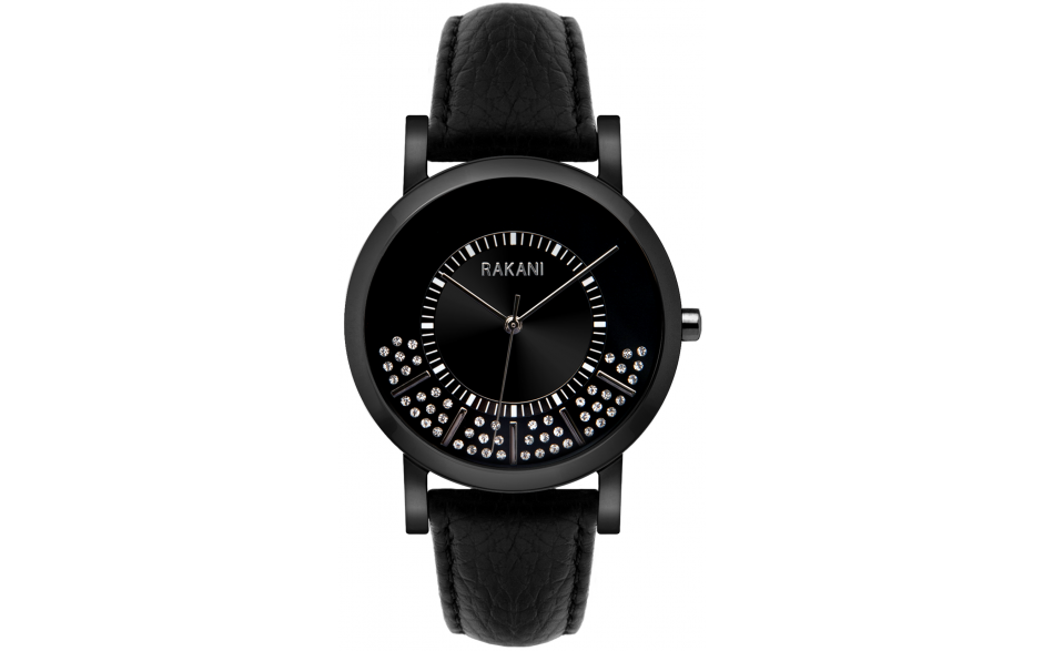 Stuck In Traffic - Swarovski Crystals Watch w/ Black Steel Case and Leather Band (40mm)