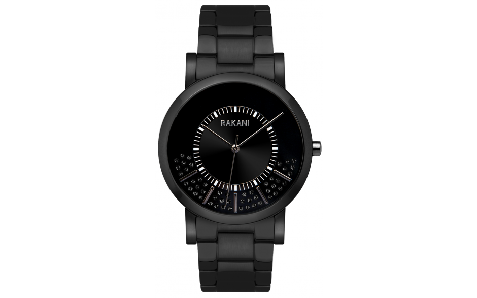 Stuck In Traffic - Black Swarovski Crystals Watch w/ Black Steel Case and Band (40mm)