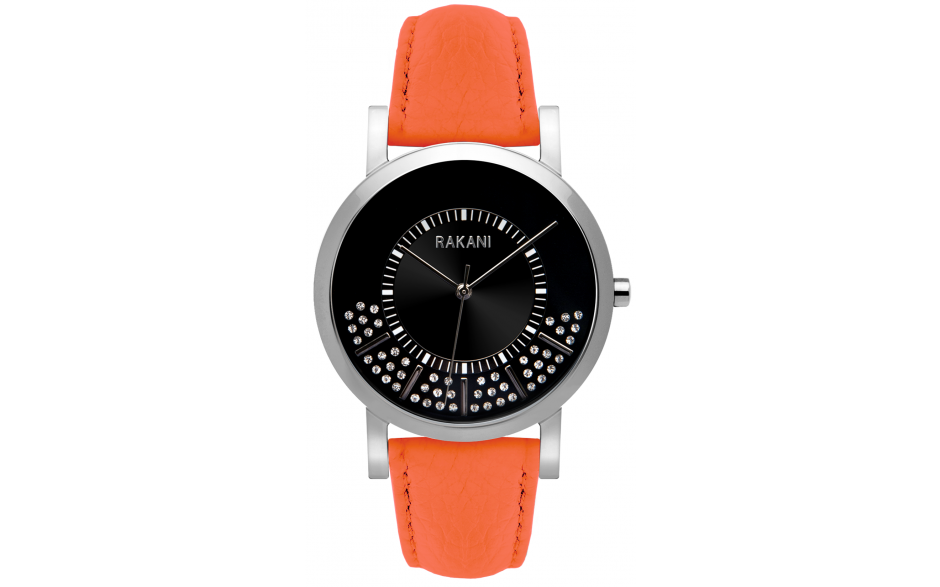Stuck In Traffic - Swarovski Crystals Watch w/ Orange Leather (40mm)