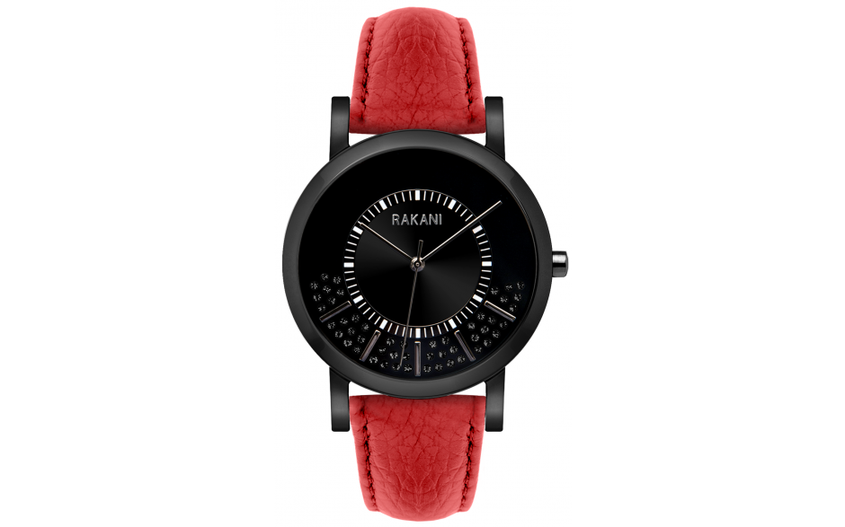 Stuck In Traffic - Black Swarovski Crystals Watch w/ Black Steel Case and Red Leather (40mm)