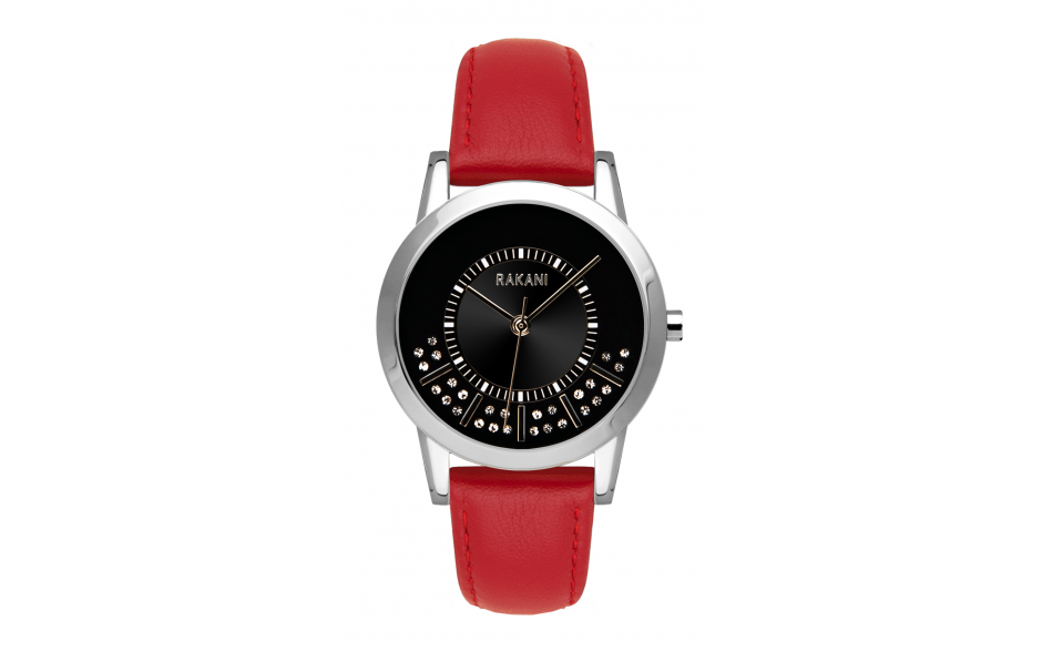 Stuck In Traffic - Swarovski Crystals Watch w/ Red Leather (32mm)