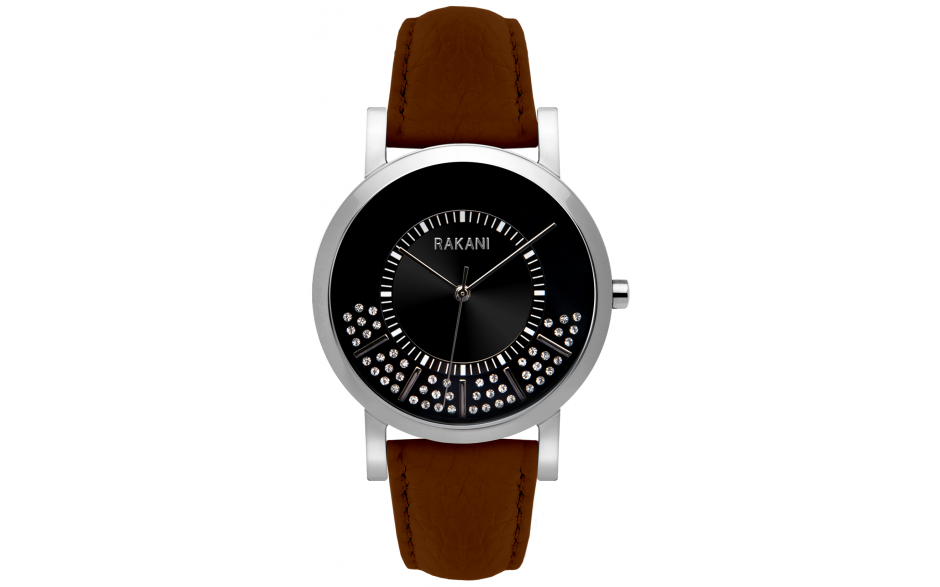 Stuck In Traffic - Swarovski Crystals Watch w/ Dark Brown Leather (40mm)