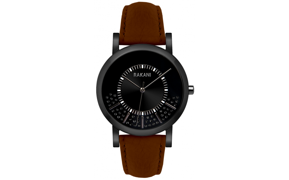 Stuck In Traffic - Black Swarovski Crystals Watch w/ Black Steel Case and Dark Brown Leather (40mm)