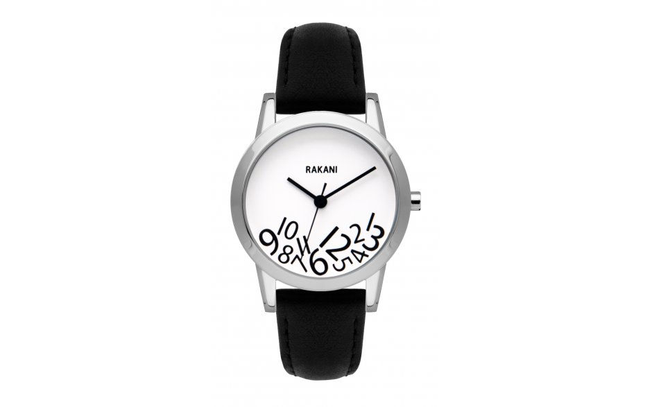 What Time? - Black on White Watch w/ Black Leather (32mm)