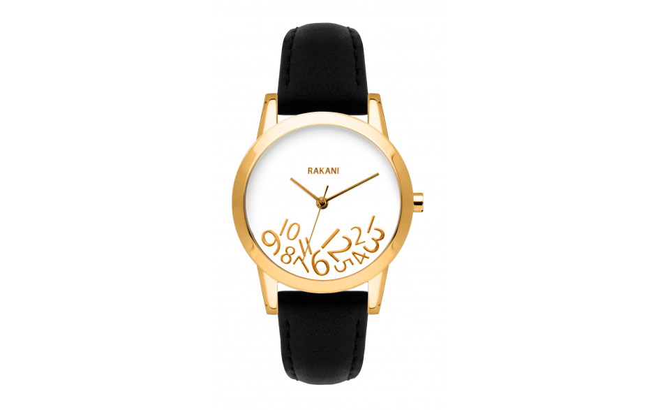 What Time? - Gold on White Watch w/ Black Leather (32mm)