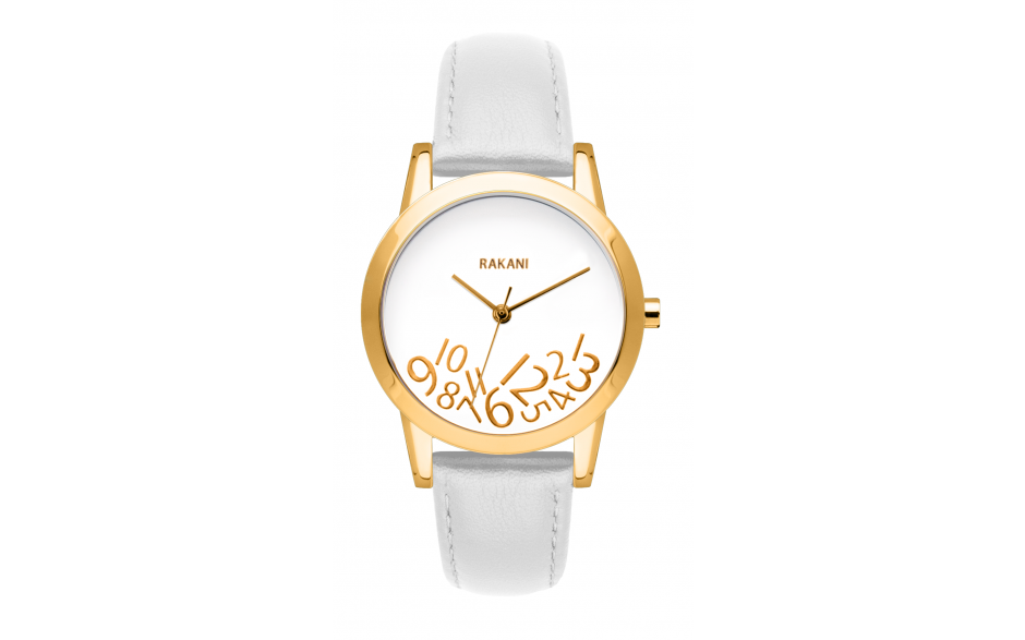 What Time? - Gold on White Watch w/ White Leather (32mm)