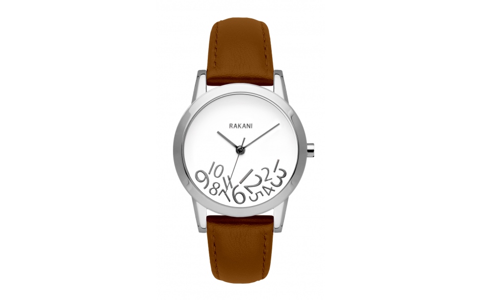 What Time? - Silver on White Watch w/ Light Brown Leather (32mm)