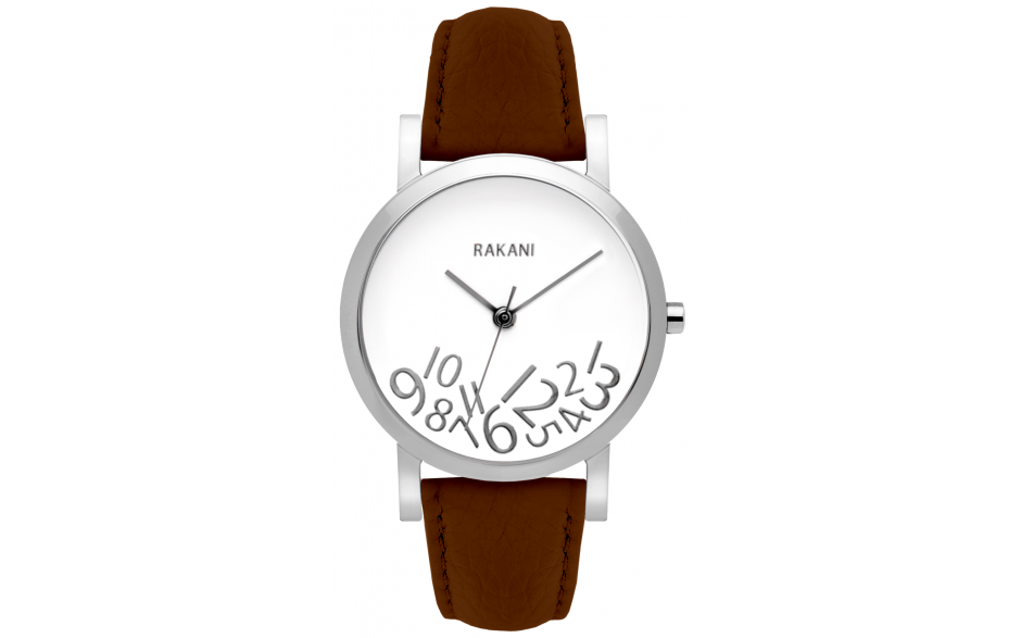 What Time? - Silver on White Watch w/ Dark Brown Leather (40mm)