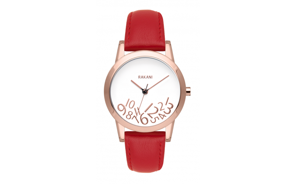 What Time? - Rose Gold on White Watch w/ Red Leather (32mm)