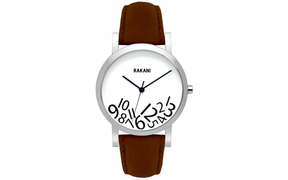What Time? - Black on White Watch w/ Dark Brown Leather (40mm)