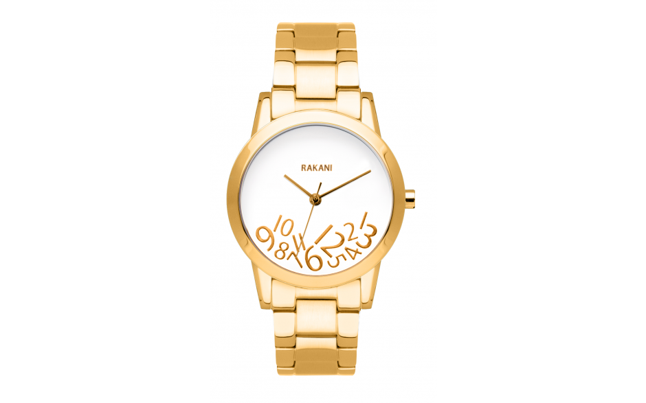 What Time? - Gold on White Watch w/ Gold Steel (32mm)