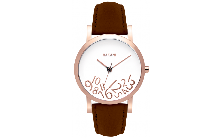 What Time? - Rose Gold on White Watch w/ Dark Brown Leather (40mm)
